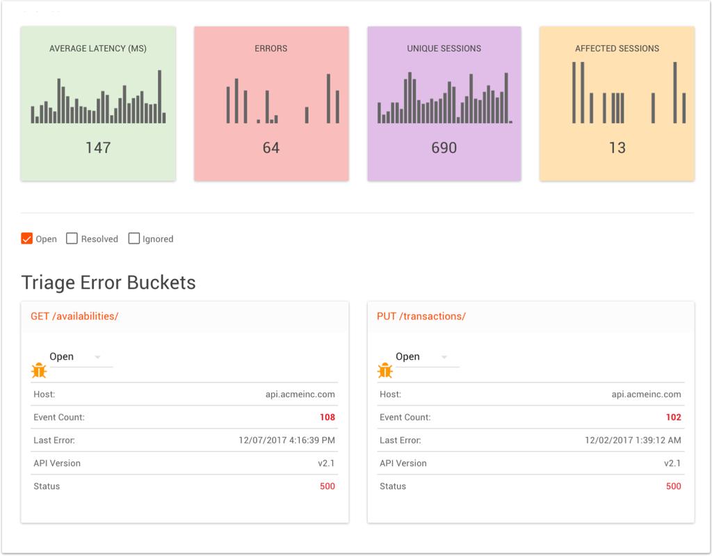 List of triaged error buckets